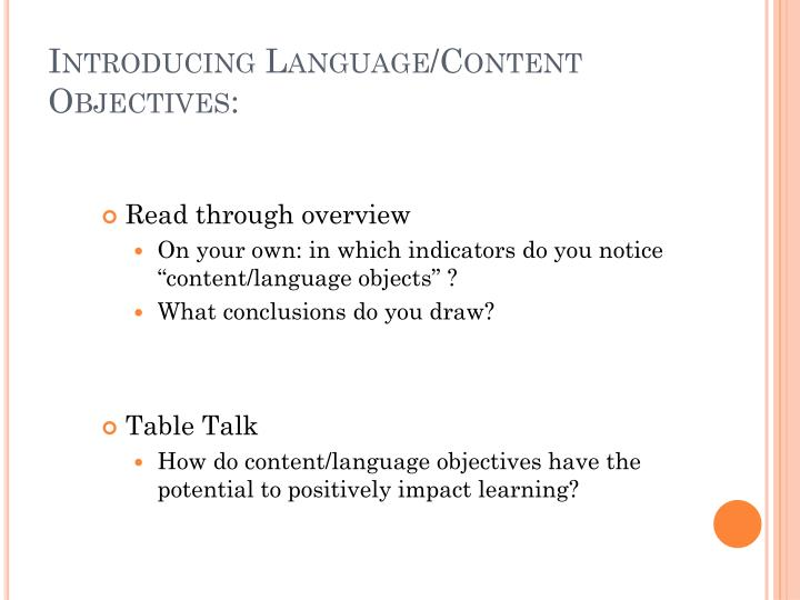 Introducing Language/Content Objectives: