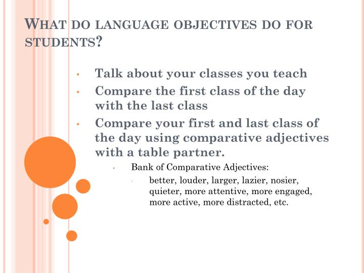 What do language objectives do for students?