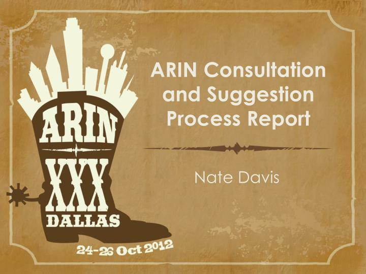 arin consultation and suggestion process report n.