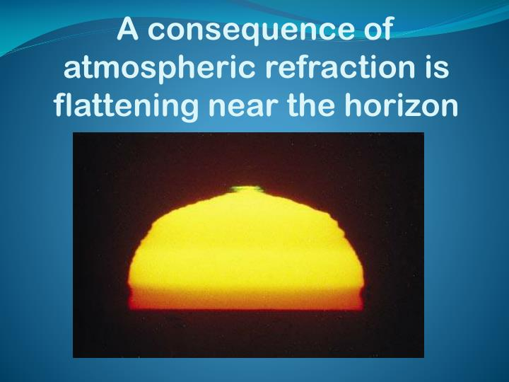 A consequence of atmospheric refraction is flattening near the horizon