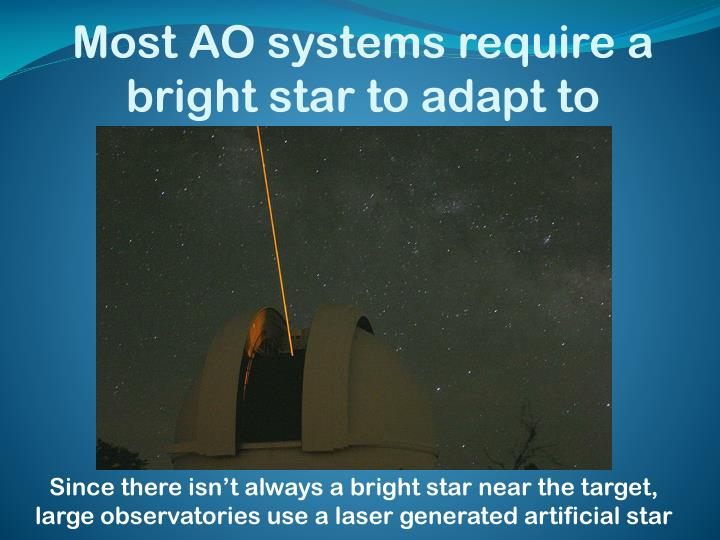 Most AO systems require a bright star to adapt to