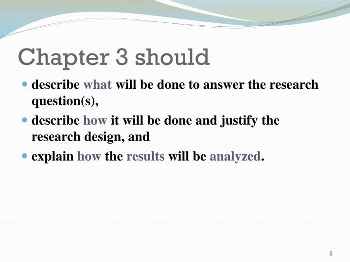 Chapter 3 should