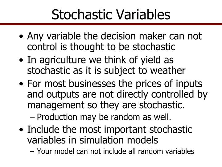 Stochastic variables