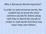 why is nonsense words important