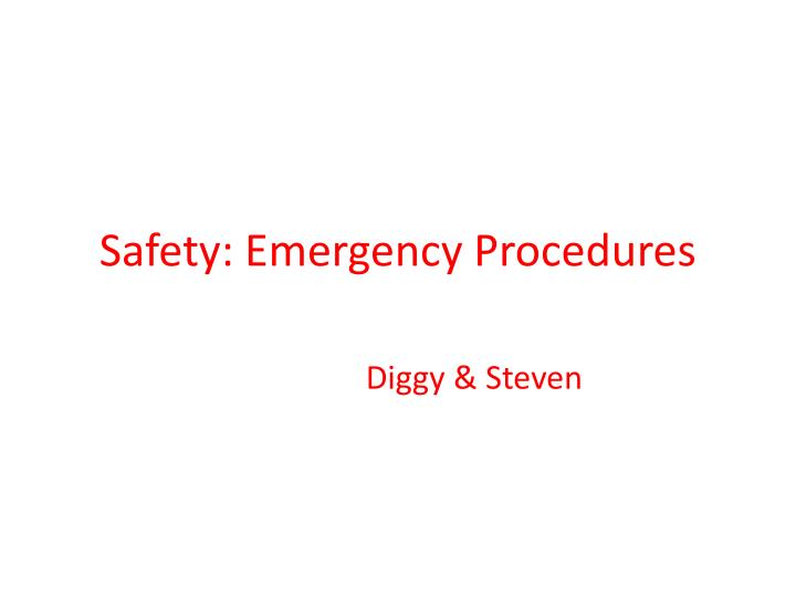 safety emergency procedures