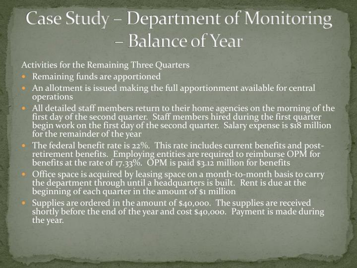 Case Study – Department of Monitoring –