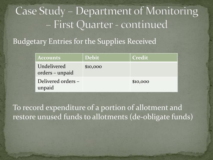 Case Study – Department of Monitoring – First Quarter - continued
