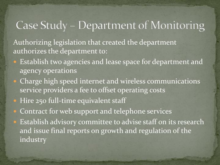 Case study department of monitoring