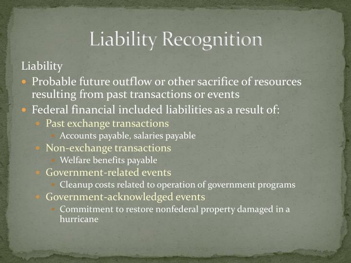 Liability Recognition