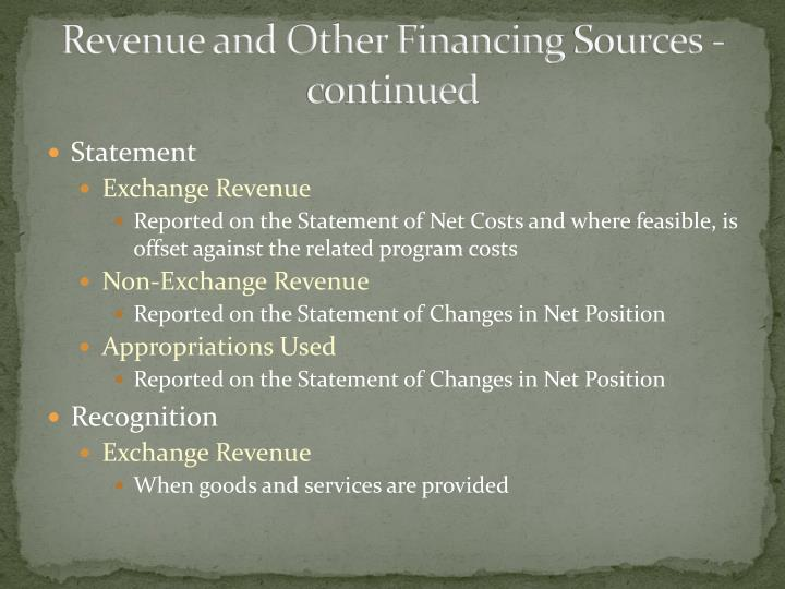 Revenue and Other Financing