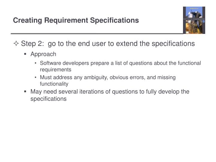 Step 2:  go to the end user to extend the specifications