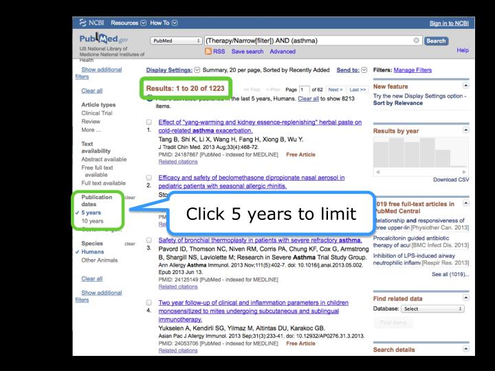 Click 5 years to limit