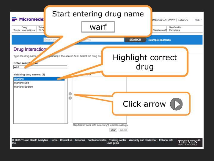 Start entering drug name
