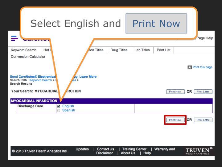 Select English and