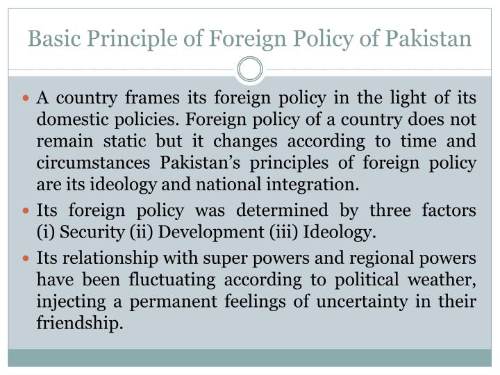 Basic Principle of Foreign Policy of Pakistan
