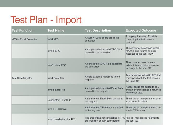 Test Plan - Import