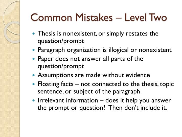 Common Mistakes – Level Two