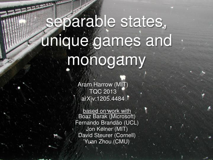 separable states unique games and monogamy