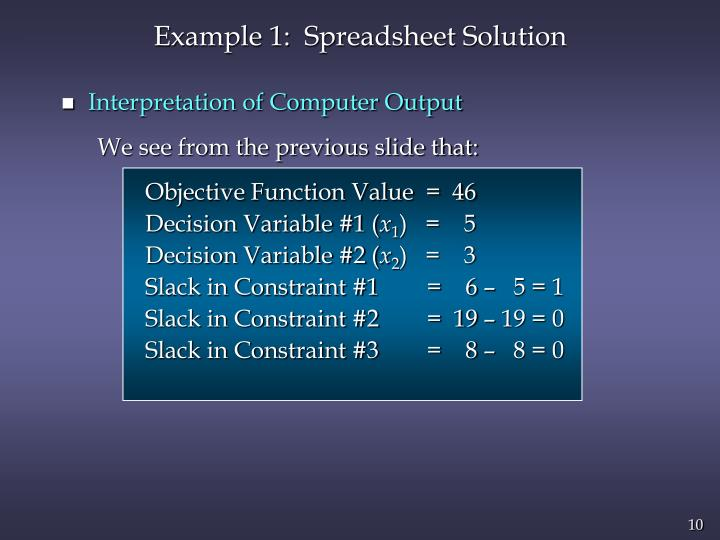 Example 1:  Spreadsheet Solution