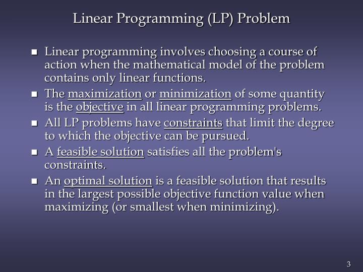 Linear programming lp problem