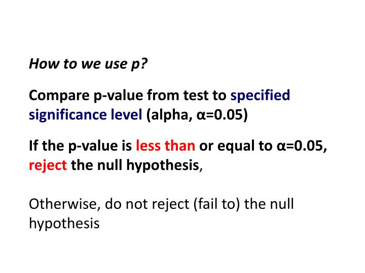 How to we use p?