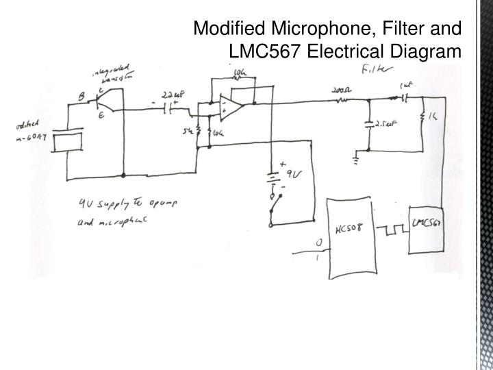 Modified Microphone, Filter and LMC567 Electrical Diagram