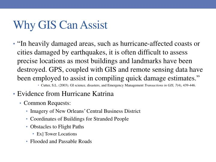 Why gis can assist