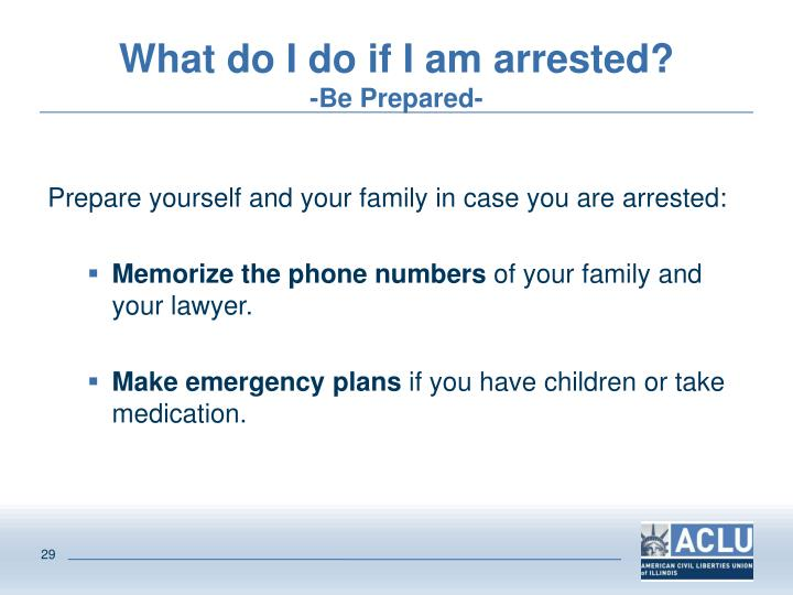 What do I do if I am arrested