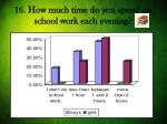 16 how much time do you spend on school work each evening