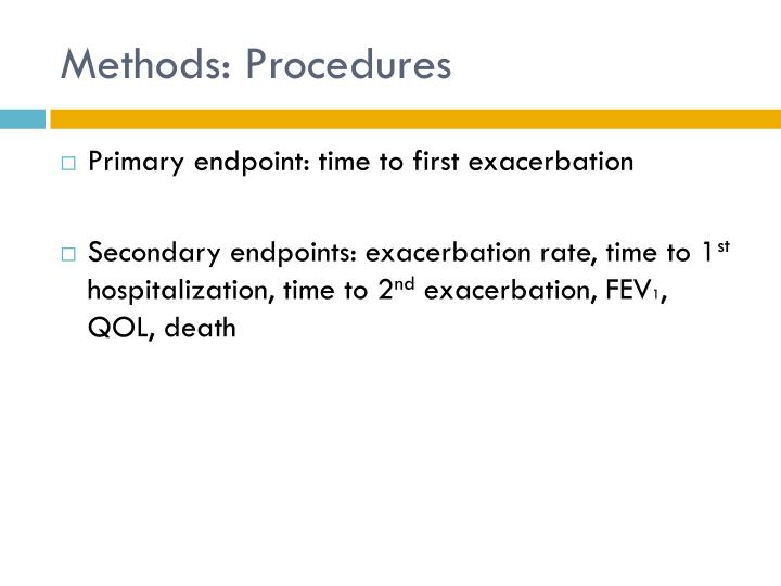 Methods: Procedures