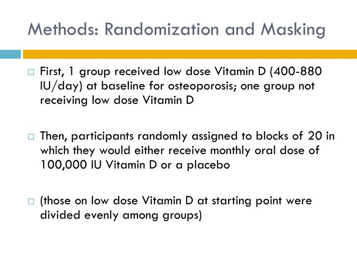 Methods: Randomization and Masking