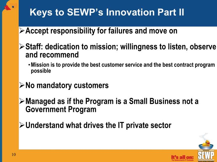 Keys to SEWP's Innovation Part II