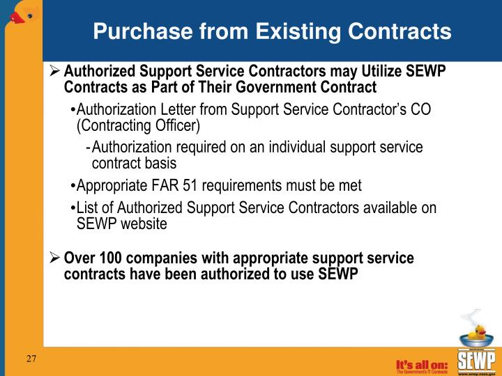 Purchase from Existing Contracts