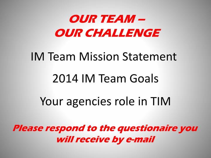 2014 IM Team Goals