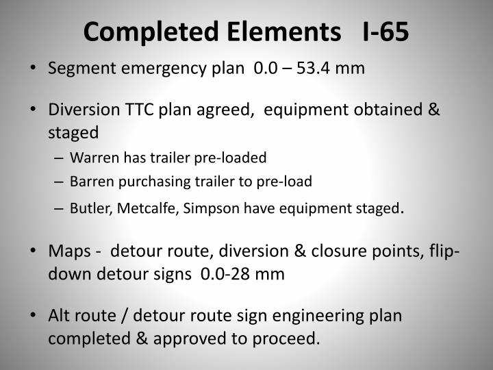 Completed Elements   I-65