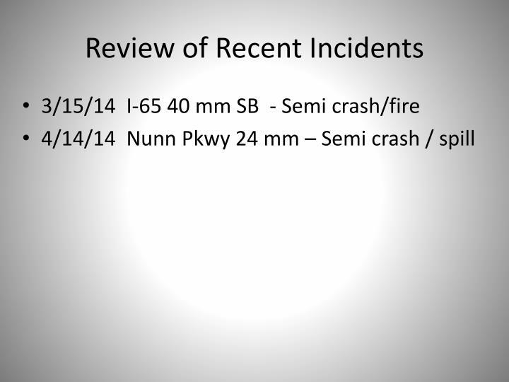 Review of recent incidents