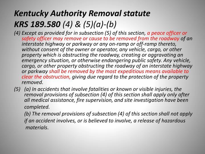 Kentucky Authority Removal statute