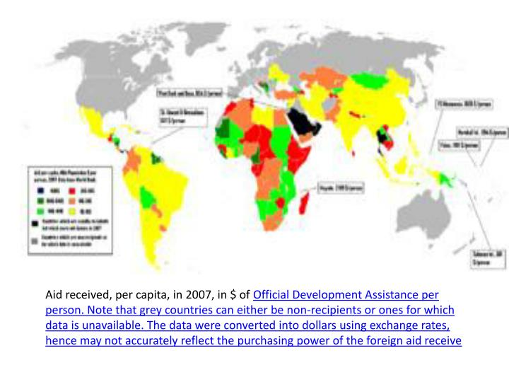 Aid received, per capita, in 2007, in $ of