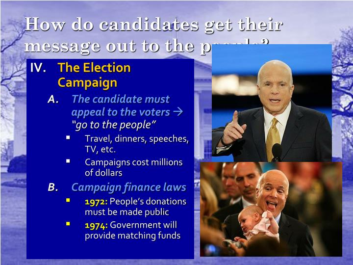 How do candidates get their message out to the people?