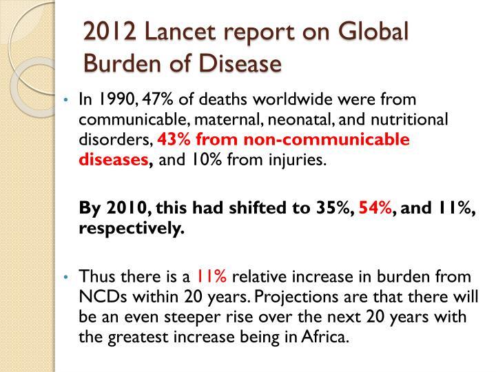 2012 Lancet report on Global Burden of Disease