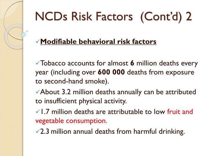 NCDs Risk Factors  (Cont'd) 2