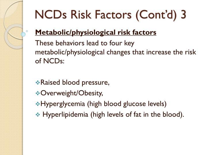 NCDs Risk Factors (Cont'd) 3