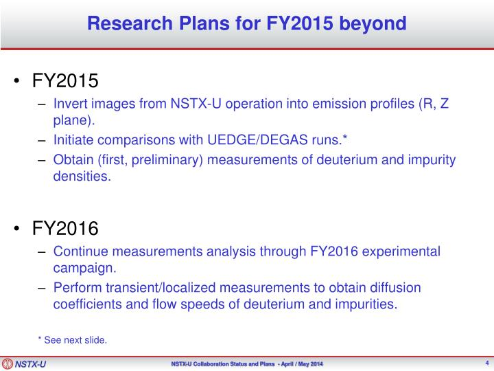Research Plans for FY2015 beyond