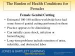 the burden of health conditions for females1