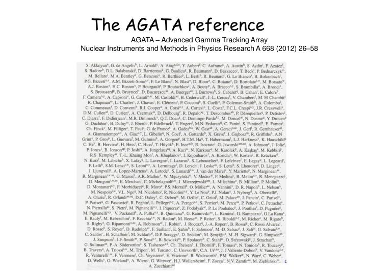 The agata reference