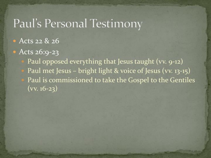 Paul's Personal Testimony