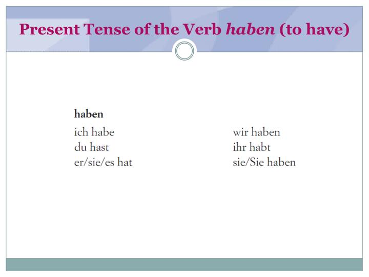 Present Tense of the Verb