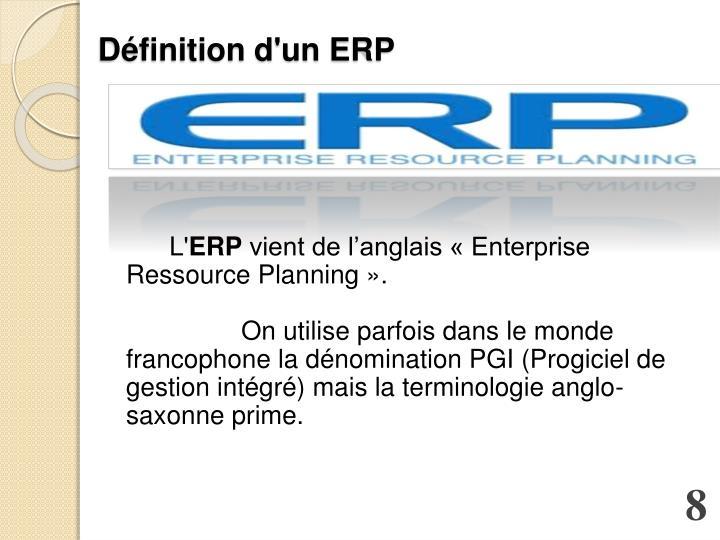 Définition d'un ERP
