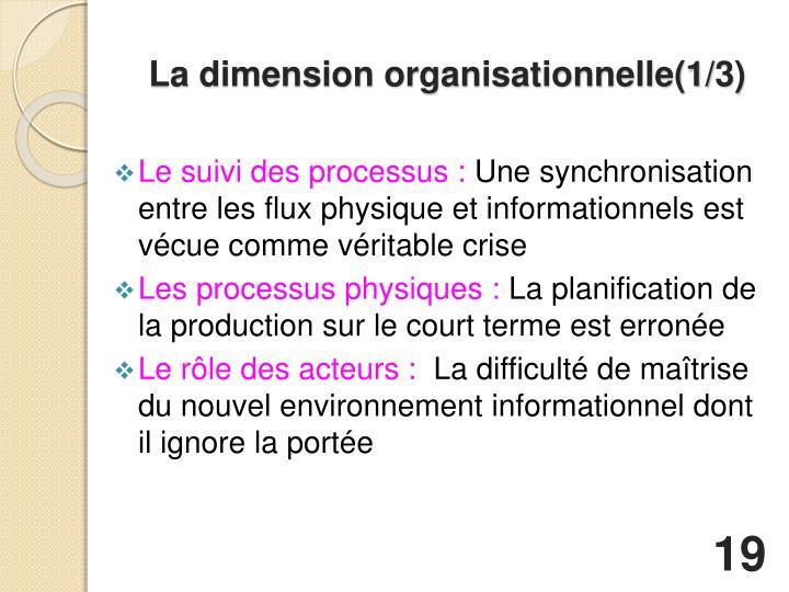 La dimension organisationnelle(1/3)