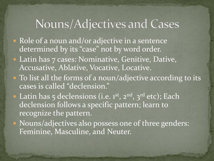Nouns/Adjectives
